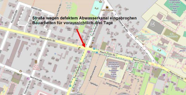 Maxim-Gorki-Straße / Trachenberger Straße - noch zwei Tage einspurig