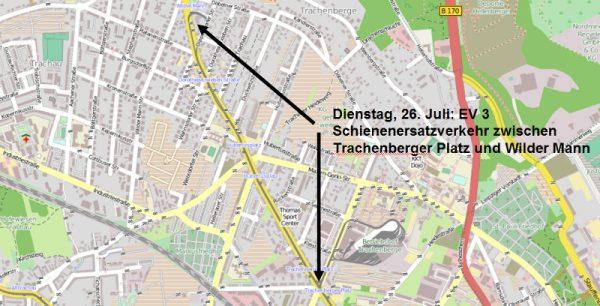 Tagesbaustelle Linie 3 - Ersatzverkehr zwischen Trachenberger Platz und Wilder Mann