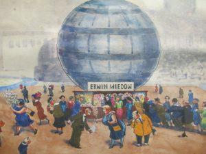 Erwin Wiedow malte ein Bild seines kleinen Geschäfts unter dem Kugelhaus am Straßburger Platz