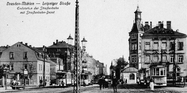 Mickten Straßenbahn-Depot um 1912