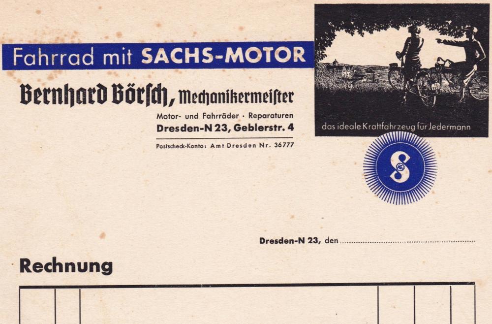 Rechnung Bernhard Börsch um 1935