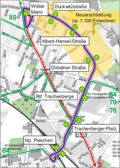 DVB Linie 73 Streckenführung