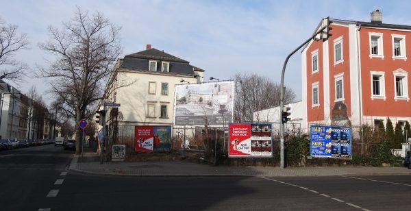 Baubeginn für Eckhaus Maxim-Gorki-Straße / Trachenberger Straße im Frühjahr