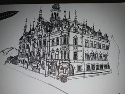Jana hat das Rathaus Pieschen gemalt