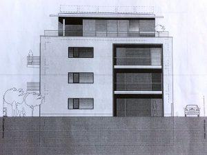 Die Zeichnung zeigt die Südseite des Neubaus, also die Ansicht von der Sternstraße aus. Quelle: Fam. Gava/SHP Architekten GmbH