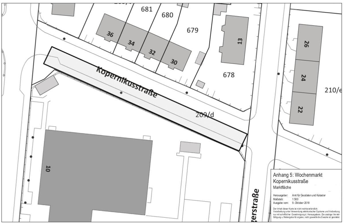 Wochenmarkt Kopernikusstraße Lageplan