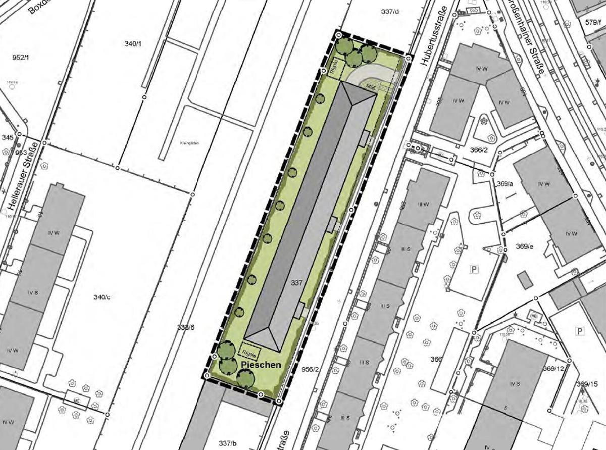 Hubertusstraße Bebauung Lageplan